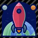 exploration, rocket, space, transportation, travel, vehicle icon
