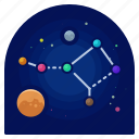exploration, horoscope, sign, space, stars, travel icon