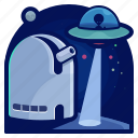 alien, exploration, space, spaceship, telescope, travel, view icon