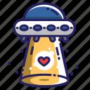 alien, spaceship, spacecraft, ufo, heart