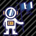 space, astronaut, flag, spaceman, landing