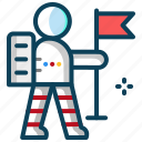 astronaut with flag, human, planet, space, spaceman, target