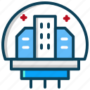 research center, space, space center, space colony icon