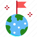 earth, flag, space, target icon