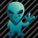 cute, alien, character, hi, hello