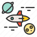 astronomy, galaxy, planet, rocket, space, spaceship, star icon