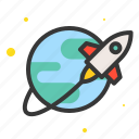 astronomy, earth, rocket, space, travel icon