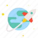 astronomy, earth, planet, rocket, space, travel icon
