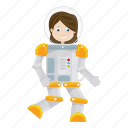 astronaut, cartoon, girl, kid, suit icon