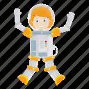 astronaut, astronomy, girl, kid icon