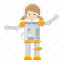 astronaut, cartoon, girl, suit icon