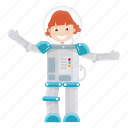 astronaut, girl, kid, science icon