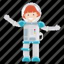 astronaut, girl, kid, science
