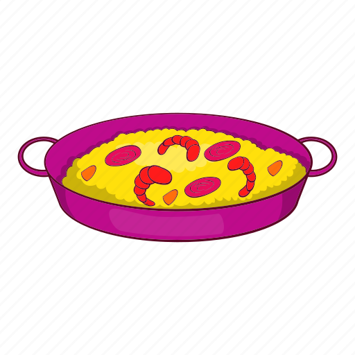cartoon, paella, seafood, shrimp, spanish, top, view icon