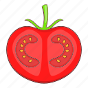 cartoon, food, red, slice, tomato, vegetable, vegetarian icon