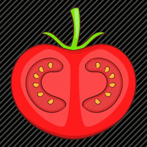 cartoon, food, red, slice, tomato, vegetable, vegetarian icon