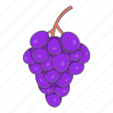 cartoon, food, fruit, grape, leaf, organic, wine icon