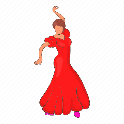 cartoon, dancer, dress, flamenco, red, spanish, woman icon