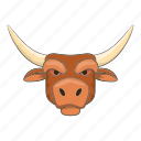 bull, cartoon, cow, head, horned, strong, wild icon