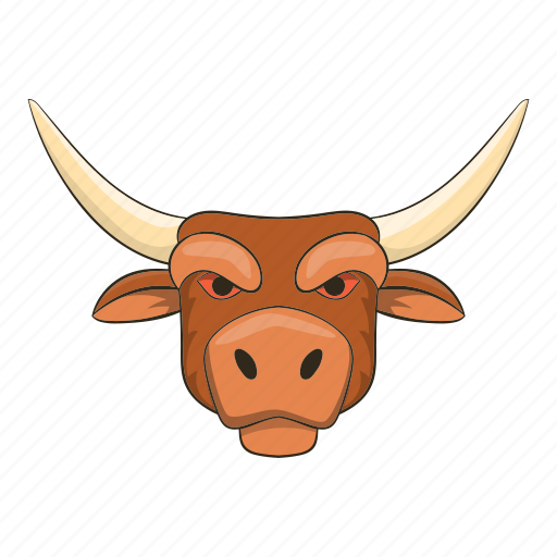 Bull, cartoon, cow, head, horned, strong, wild icon - Download on Iconfinder