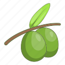 branch, cartoon, fruit, green, healthy, olive, organic icon