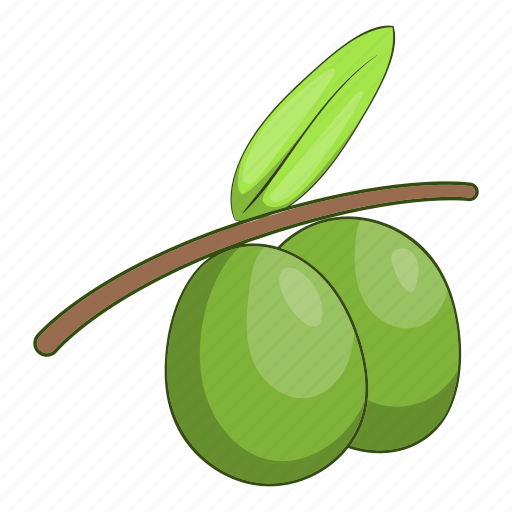 Branch, cartoon, fruit, green, healthy, olive, organic icon - Download on Iconfinder