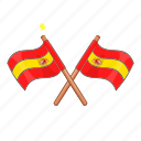 attribute, badge, cartoon, crossed, device, flag, spain icon