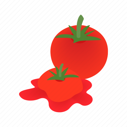 food, fresh, ingredient, isometric, ripe, tomato, vegetable icon