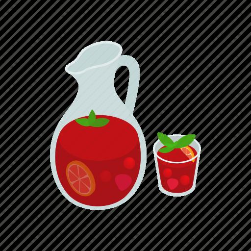 alcohol, drink, glass, isometric, juice, sangria, spanish icon