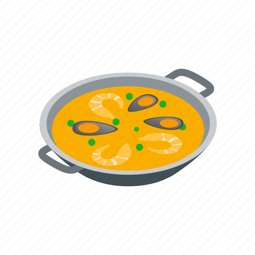 Cuisine, food, isometric, paella, rice, seafood, spanish icon - Download on Iconfinder