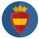 crown, espana, round, shield, spain icon