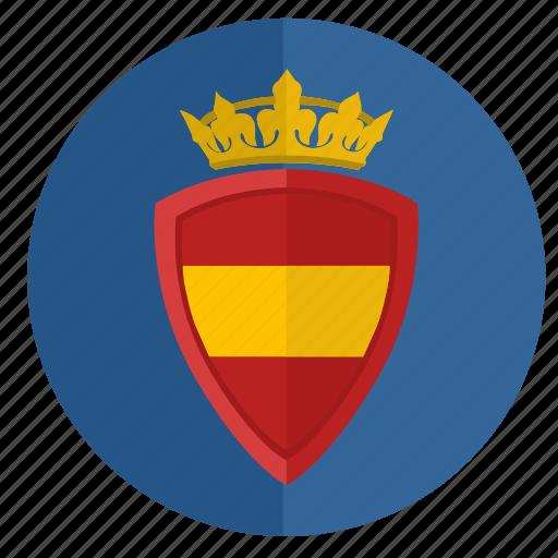 crown, espana, round, shield, spain icon