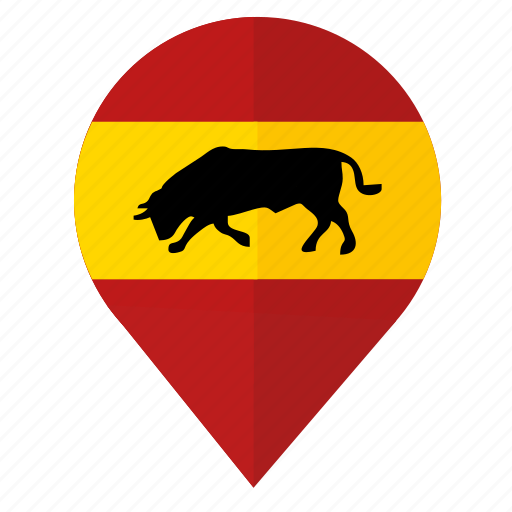 bull, espana, flag, location, pointer, spain icon