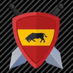 espana, flag, force, shield, spain, sword icon