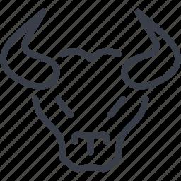 animal, bull, horns, spain icon