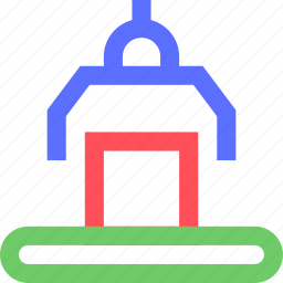 business, commerce, corporation, industry, line, production, robot, trade icon