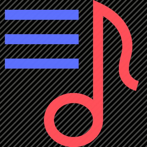 list, lyrics, melody, music, rock, sing, sound icon