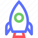 education, information, learn, rocket, science, train icon