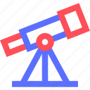 education, information, learn, science, telescope, train icon
