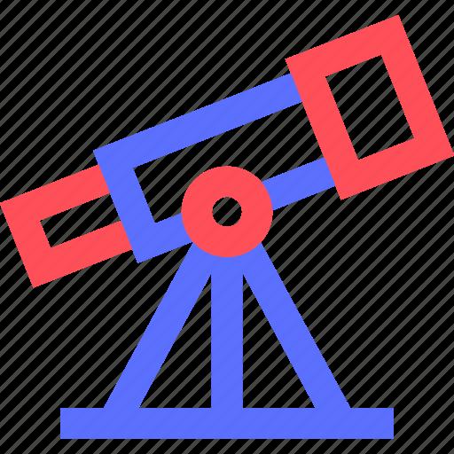 education, information, learn, science, telescope, train icon