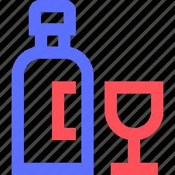 bells, bottle, bridal, marriage, union, wedding, wine icon