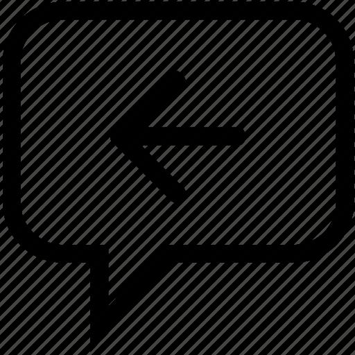 back, back arrow, back bubble, back chat, back speech bubble, backwards arrow, left arrow icon