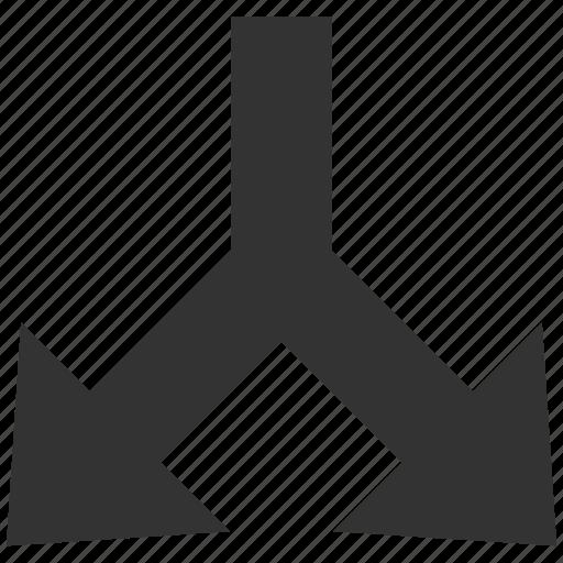 arrow down, choice, connection, divide, navigation, separate, split arrows icon