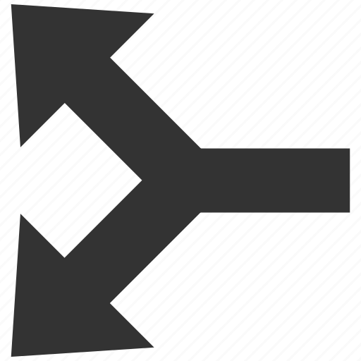 choice, connection, divide, junction, left arrow, separate, split arrows icon