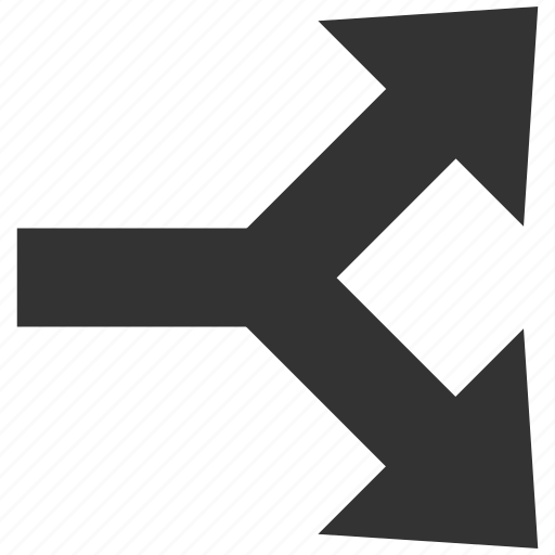 arrow right, choice, connection, divide, junction, separate, split arrows icon