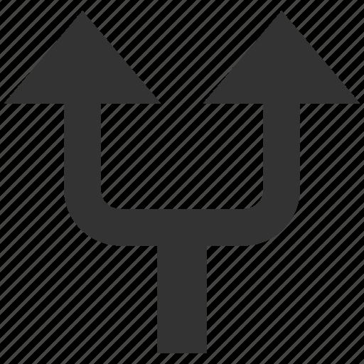 arrow up, choice, connection, divide, navigation, separate, split arrows icon