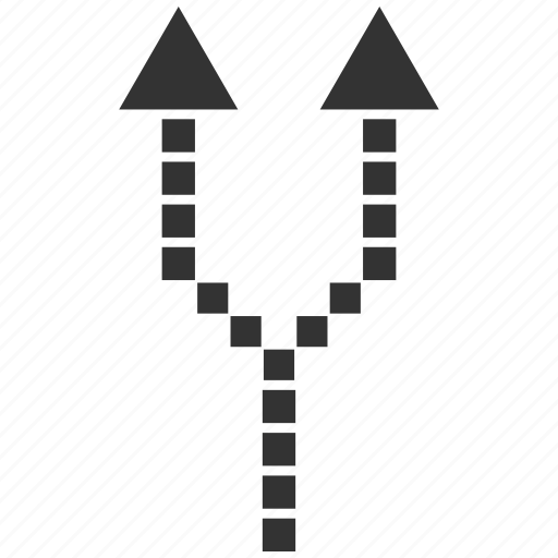 arrow up, choice, connection, divide, dotted, separate, split arrows icon