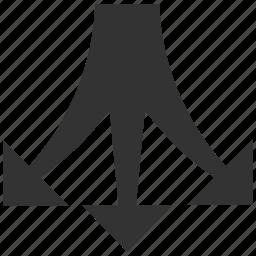 choice, divide, down direction, junction, navigation, separate, split arrows icon
