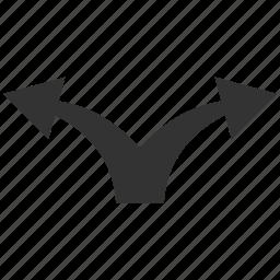 arrow, divide, junction, left right, navigation, separate, split arrows icon