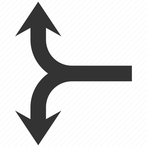 arrow, divide, junction, navigation, separate, split arrows, up down icon